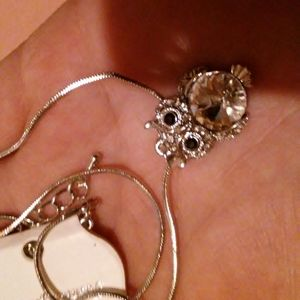 NWT long silver fashion Owl necklace
